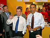 President Barack Obama and Russian Federation President Dmitry Medvedev order cheeseburgers and fries at Ray's Hell Burger in Arlington, VA, during the Russian president's visit to Washington, DC, Thursday, June 24, 2010..Credit: Martin H. Simon - Pool via CNP