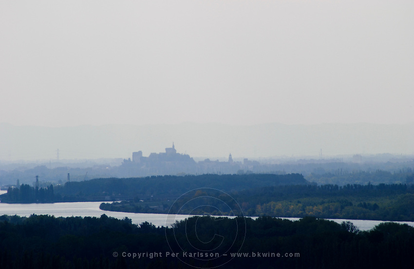 A view over the city Avignon that you can see in the distance in summer mist with the Pope's palace and the river Rhone. Chateauneuf-du-Pape Vaucluse, Provence, France, Europe
