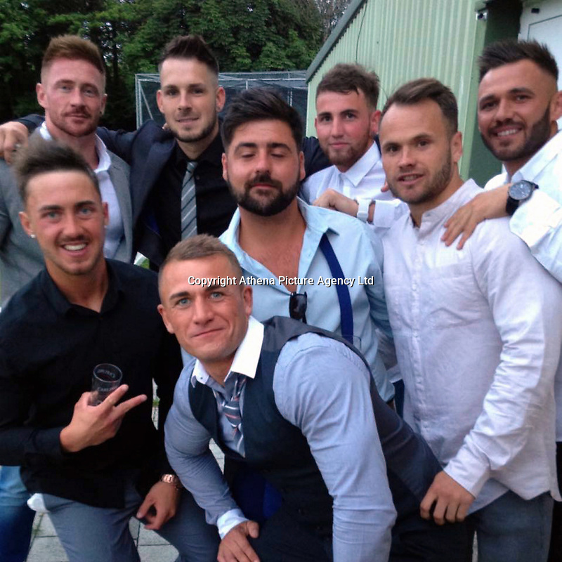 Pictured: Kyle Jones (FRONT), image taken from social media page<br /> Re: Inquest to be held at ABerdare Coroner's Court, into the death of Kyle Jones, a popular and talented football player who died suddenly in Brackla, Bridgend, leaving his family and friends distraught.<br /> The family of builder Kyle Jones, 29, from Brackla, Bridgend , said it is believed he took his own life without warning on Monday, January 2, following a night out.<br /> &quot;He had been happy, just really positive about 2017,&quot; said mum Dianne Tantrum, 50.<br /> &quot;We just don't know why. He had a job, he was playing football. He was so good.&quot;