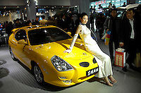 Visitors view a Chinese-made Dongfeng Sports Saloon displayed at the Beijing International Automotive Exhibition in Beijing, China..19 Nov 2006