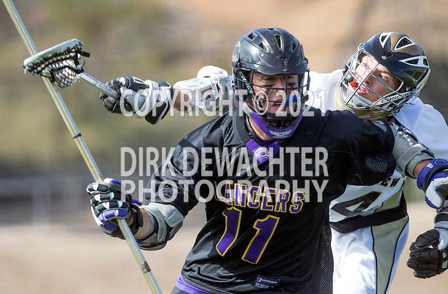 San Diego, CA 05/25/13 - Robert Sweeney  (Carlsbad #11) and Luke Seydel (Westview #14) in action during the 2013 Boys Lacrosse San Diego CIF DIvision 1 Championship game.  Westview defeated Carlsbad 8-3.
