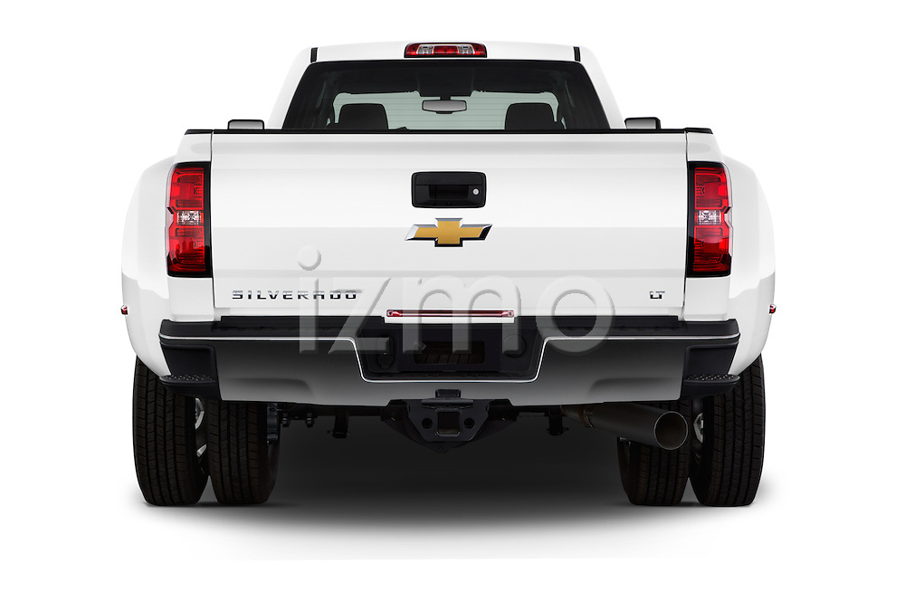 Straight rear view of 2016 Chevrolet Silverado-3500HD LT-Crew-Cab-Long-Box-DRW 4 Door Pick-up Rear View  stock images