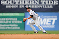 Second baseman Hunter Cole (19) of the Augusta GreenJackets in a game against the Greenville Drive on Sunday, April 12, 2015, at Fluor Field at the West End in Greenville, South Carolina. Augusta won, 2-1. (Tom Priddy/Four Seam Images)