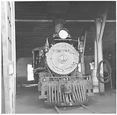 RGS 4-6-0 #20 head-on in Ridgway roundhouse.<br /> RGS  Ridgway, CO  Taken by Richardson, Robert W. - 7/1947