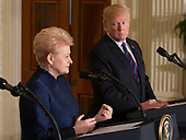 President Dalia Grybauskaite of Lithuania participates in a news conference with U.S. President Donald J. Trump and other leaders of Baltic Nations at The White House in Washington, DC, April 3, 2018.<br /> Credit: Chris Kleponis / Pool via CNP