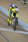 Australia's Keiran Modra and pilot Tyson Lawrence qualify fastest in the men's 4000m individual pursuit (B&VI) on day one of competition at the Laoshan Velodrome.