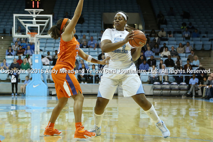 03 January 2016: North Carolina's Xylina McDaniel (34) and Clemson's Alexis Carter (left). The University of North Carolina Tar Heels hosted the Clemson University Tigers at Carmichael Arena in Chapel Hill, North Carolina in a 2015-16 NCAA Division I Women's Basketball game. UNC won the game 72-56.