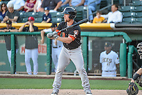 Nolan Fontana (9) of the Fresno Grizzlies at bat against the Salt Lake Bees in Pacific Coast League action at Smith's Ballpark on June 13, 2015 in Salt Lake City, Utah.  (Stephen Smith/Four Seam Images)