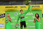 Mike Theunison (BEL) retains the points Green Jersey after his Team Jumbo-Visma win Stage 2 of the 2019 Tour de France a Team Time Trial running 27.6km from Bruxelles Palais Royal to Brussel Atomium, Belgium. 7th July 2019.<br /> Picture: ASO/Pauline Ballet | Cyclefile<br /> All photos usage must carry mandatory copyright credit (© Cyclefile | ASO/Pauline Ballet)