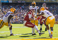 NWA Democrat-Gazette/BEN GOFF @NWABENGOFF<br /> Austin Allen, Arkansas quarterback, gets stopped just short of the goal line by Devin White (40) and John Battle, LSU defenders, in the second quarter Saturday, Nov. 11, 2017 at Tiger Stadium in Baton Rouge, La.