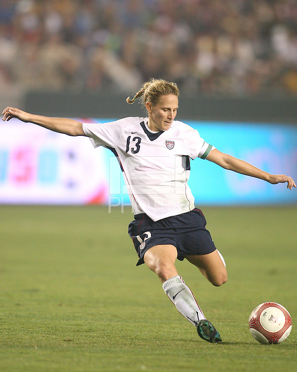 USA team captain Kristine Lilly swings into a shot during a 2-0 victory over Mexico to qualify for the 2007 FIFA World Cup, at the Home Depot Center,  November 22, 2006, in Carson, California.