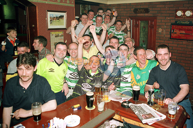 Celtic supporters in O'Neills Bar in Duleek Co.Meath during the Celtic v Rangers Scottish FA Cup final..Pic Fran Caffrey / Newsfile