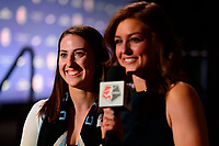 Philadelphia, PA - Thursday January 18, 2018: Zoey Goralski, Jordan Angeli during the 2018 NWSL College Draft at the Pennsylvania Convention Center.