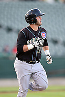 Kane County Cougars catcher Ben Carhart (21) runs to first during a game against the Peoria Chiefs on June 2, 2014 at Dozer Park in Peoria, Illinois.  Peoria defeated Kane County 5-3.  (Mike Janes/Four Seam Images)