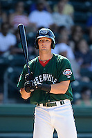 Left fielder Zach Kapstein (40) of the Greenville Drive bats in a game against the Savannah Sand Gnats on Sunday, June 22, 2014, at Fluor Field at the West End in Greenville, South Carolina. Greenville won, 7-3. (Tom Priddy/Four Seam Images)