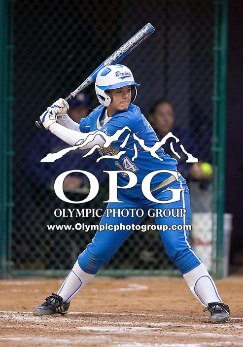 1 April 2010:   UCLA third baseman #14 Julie Burney sets up in the batters box against Washington. UCLA defeated Washington 1-0 at Husky Softball Stadium in Seattle, WA.
