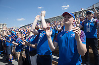 MOSCOW, RUSSIA - June 16, 2018: Iceland fans gather for a pre-game rally at Zaryadiye park before their game against Argentina at the 2018 FIFA World Cup.
