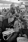 Freddie Laker launched Skytrain, the inaugural flight took place amongst much hype on 26th September 1977. This was a no frills low fare, budget daily service between London Gatwick and JFK in New York. Freddie Laker signing his autograph.