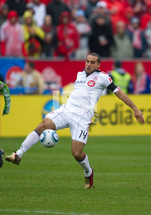 25 April 2010: Toronto FC midfielder Dwayne De Rosario #14 in action during a game between the Seattle Sounders and Toronto FC at BMO Field in Toronto..Toronto FC won 2-0....