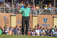 Jimmy Walker (USA) steps onto the green on 18 to the roar of his hometown crowd during Round 4 of the Valero Texas Open, AT&amp;T Oaks Course, TPC San Antonio, San Antonio, Texas, USA. 4/22/2018.<br /> Picture: Golffile | Ken Murray<br /> <br /> <br /> All photo usage must carry mandatory copyright credit (&copy; Golffile | Ken Murray)