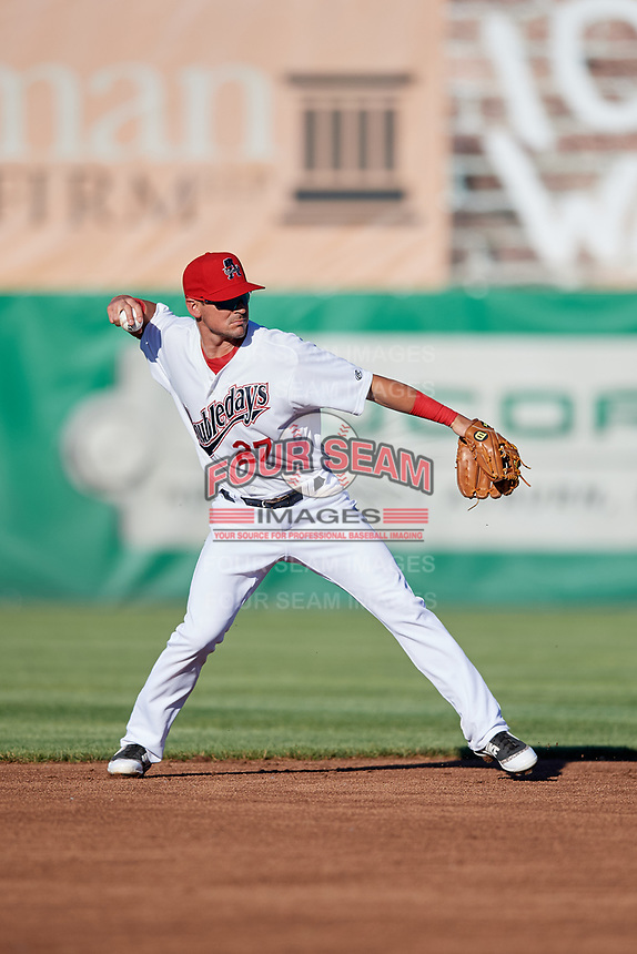 Auburn Doubledays shortstop Matt Reynolds (27) throws to first base during a game against the Batavia Muckdogs on June 15, 2018 at Falcon Park in Auburn, New York.  Auburn defeated Batavia 5-1.  (Mike Janes/Four Seam Images)