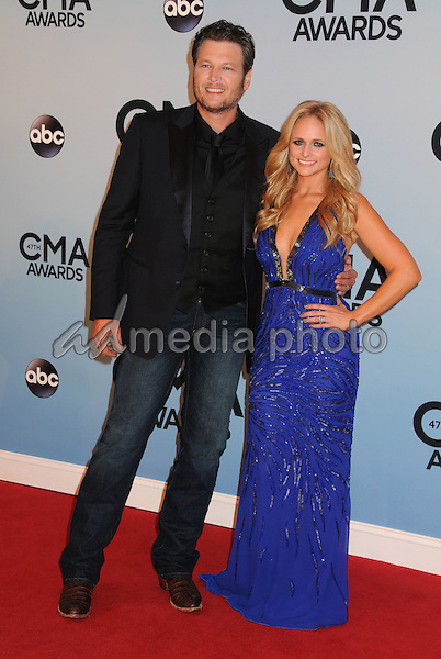 20 July 2015 - Blake Shelton and Miranda Lambert Announced they are divorcing after four years of marriage. File Photo: 06 November 2013 - Nashville, Tennessee - Blake Shelton and Miranda Lambert. 47th CMA Awards, Country Music's Biggest Night, held at Bridgestone Arena. Photo Credit: Byron Purvis/AdMedia