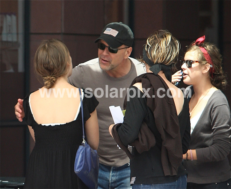 **ALL ROUND PICTURES FROM SOLARPIX.COM**.**WORLDWIDE SYNDICATION RIGHTS**.**NO PUBLICATION IN THE USA, AUSTRALIA OR GERMANY**.Bruce Willis left a medical center in Beverly Hills to meet his daughter, Tallulah Belle Willis. Willis was in high spirits until a photographer came too close to his daughters. An angry Willis threw water at the photographer's car. Beverly Hills, Los Angeles, CA, USA. 29th July 2008..This pic: Bruce Willis..JOB REF: 6930 LAS        DATE: 29_07_2008.**MUST CREDIT SOLARPIX.COM OR DOUBLE FEE WILL BE CHARGED* *UNDER NO CIRCUMSTANCES IS THIS IMAGE TO BE REPRODUCED FOR ANY ONLINE EDITION WITHOUT PRIOR PERMISSION*