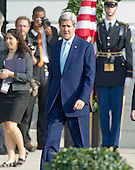 United States Secretary of State John Kerry arrives prior to US President Barack Obama and First Lady Michelle Obama at an Arrival Ceremony opening the Official Visit of Prime Minister Justin Trudeau of Canada, and Mrs. Sophie Gr&eacute;goire Trudeau on the South Lawn of the White House in Washington, DC on Thursday, March 10, 2016. <br /> Credit: Ron Sachs / CNP