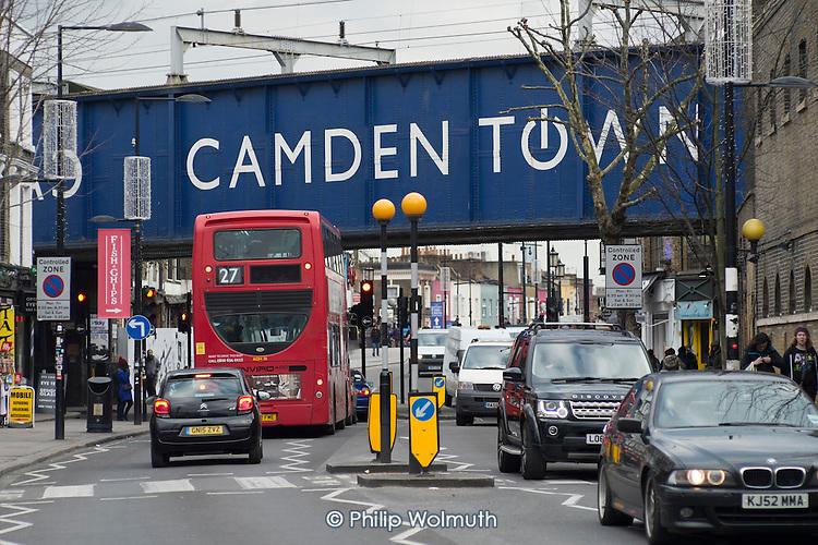 Traffic and railway bridge, Camden Town, London.