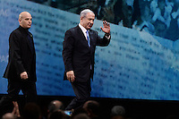 Washington, DC - March 2, 2015: Israeli Prime Minister Benjamin Netanyahu waves to the audience after he addressed attendees of the American Israeli Public Affairs Committee Policy Conference at the Washington Convention Center, March 2, 2015.   (Photo by Don Baxter/Media Images International)