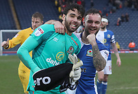 Blackburn Rovers' David Raya and Blackburn Rovers' Adam Armstrong celebrate at the end of the game<br /> <br /> Photographer Rachel Holborn/CameraSport<br /> <br /> The EFL Sky Bet League One - Blackburn Rovers v Blackpool - Saturday 10th March 2018 - Ewood Park - Blackburn<br /> <br /> World Copyright &copy; 2018 CameraSport. All rights reserved. 43 Linden Ave. Countesthorpe. Leicester. England. LE8 5PG - Tel: +44 (0) 116 277 4147 - admin@camerasport.com - www.camerasport.com