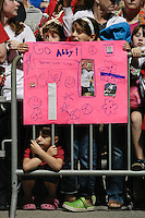 Fans of Abby Wambach of the magicJack wait for autographs after the game. The Western New York Flash defeated the magicJack 3-0 in Women's Professional Soccer (WPS) at Sahlen's Stadium in Rochester, NY May 22, 2011.