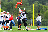 July 26, 2018: New England Patriots tight end Rob Gronkowski (87) gets under the ball for a catch at the New England Patriots training camp held on the practice fields at Gillette Stadium, in Foxborough, Massachusetts. Eric Canha/CSM