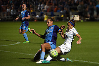 Kansas City, MO - Saturday May 28, 2016: Orlando Pride defender Toni Pressley (3) defends against FC Kansas City forward Shea Groom (2) during a regular season National Women's Soccer League (NWSL) match at Swope Soccer Village.  Kansas City won 2-0.