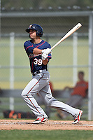 Minnesota Twins Zack Larson (39) during a minor league spring training game against the Baltimore Orioles on March 28, 2015 at the Buck O'Neil Complex in Sarasota, Florida.  (Mike Janes/Four Seam Images)