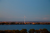 Wind turbine on Lake Palmdale. The 318 foot turbine powers the district's Lake Palmdale water-treatment plant and can produce up to 950kw of electricity. Palmdale, Los Angeles County, California, USA