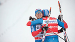 HOLMENKOLLEN, OSLO, NORWAY - March 16: (R) Winner Alexander Legkov of Russia (RUS) hugs 3rd place (L) Ilia Chernousov of Russia (RUS) after the Men 50 km mass start, free technique, at the FIS Cross Country World Cup on March 16, 2013 in Oslo, Norway. (Photo by Dirk Markgraf)