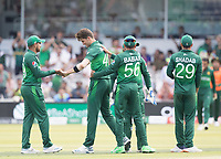 Shaheen Afridi (Pakistan) congratulated by team mates not he wicket of Das during Pakistan vs Bangladesh, ICC World Cup Cricket at Lord's Cricket Ground on 5th July 2019