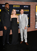 """LOS ANGELES, CA: 27, 2020: Winston Duke, Iliza Shlesinger & Mark Wahlberg  at the world premiere of """"Spenser Confidential"""" at the Regency Village Theatre.<br /> Picture: Paul Smith/Featureflash"""