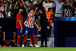 Hector Herrera (L) and coach Diego Pablo Simeone (R) of Atletico de Madrid celebrates goal during UEFA Champions League match between Atletico de Madrid and Juventus at Wanda Metropolitano Stadium in Madrid, Spain. September 18, 2019. (ALTERPHOTOS/A. Perez Meca)
