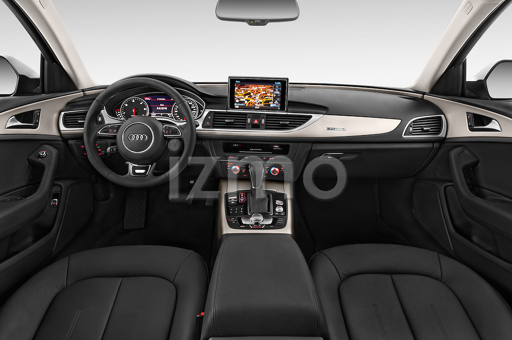 Stock photo of straight dashboard view of a 2015 Audi A6 Allroad Quattro - 5 Door Wagon Dashboard