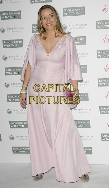ELEN RIVAS.The WTA Pre-Wimbledon Party, The Roof Gardens, Kensington, London, USA..June 17th, 2010.full length pink pale purple lilac pastel maxi dress sleeves bracelets clutch bag silver.CAP/CAN.©Can Nguyen/Capital Pictures.