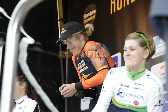Ellen Van Dijk (NED) Boels Dolmans wins the 2014 Women's Tour of Flanders, with team mate Elizabeth Armitstead (GBR) Boels Dolmans in 2nd place and Emma Johansson (SWE) Orica-AIS in 3rd, Oudenaarde, Belgium.<br /> Picture: Eoin Clarke www.newsfile.ie