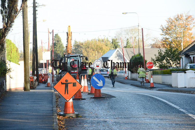 A view of the area where traffic is being diverted due to roadworks on the Tulla road in Ennis. Photograph by John Kelly.
