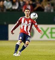 CARSON, CA – APRIL 9, 2011: Chivas USA defender Zarek Valentin (20) during the match between Chivas USA and Columbus Crew at the Home Depot Center, April 9, 2011 in Carson, California. Final score Chivas USA 0, Columbus Crew 0.