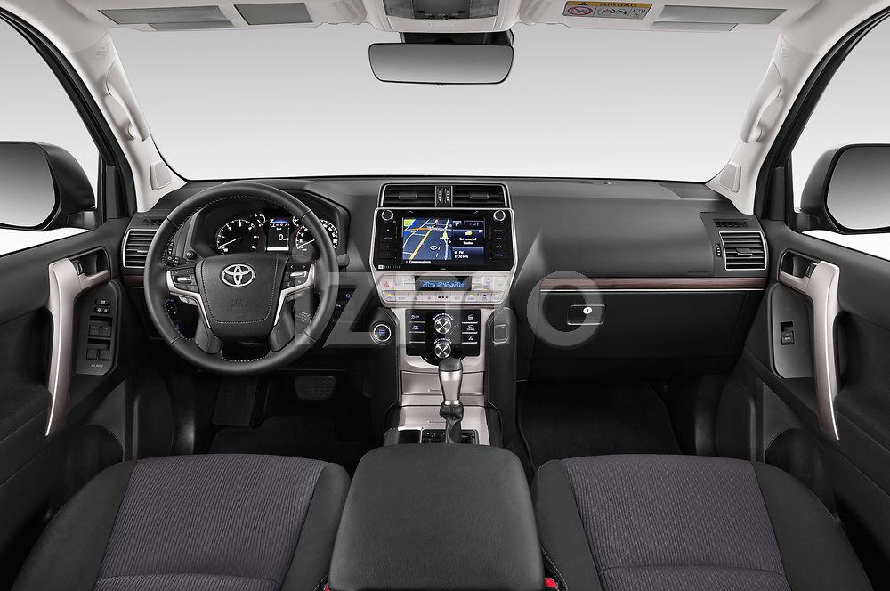 Stock photo of straight dashboard view of 2018 Toyota Land-Cruiser-150 Lounge 5 Door SUV Dashboard