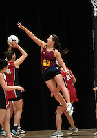 05.10.2012 Southland's Kendall McMinn in action during the netball match between Southland and Counties Manukau at the Lion Foundation Netball Champs in Tauranga. Mandatory Photo Credit ©Michael Bradley.