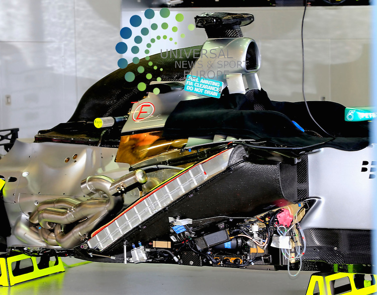 Formula 1 Petronas Malaysia Grand Prix, 22. - 24.03.2013 .Mercedes engine..The 2013 Formula 1 Petronas Malaysia Grand Prix in Sepang this weekend to paint a clearer but by no means definitive picture as they all get to run Pirelli's new tyres in much warmer temperatures. Picture: Hasan Bratic /Universal News And Sport (Europe) March 21 March 2013.