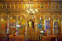 Iconostasis of the 12th century Byzantine Holy Church of Nea Megali Panagia, restored 1727, Thsalonica, Greece