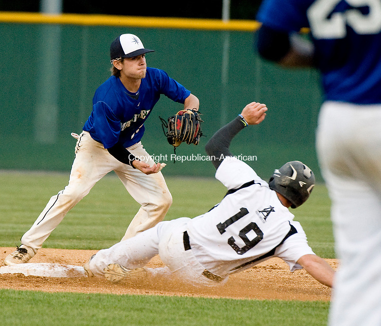 WATERBURY, CT-080317JS11-- Watertown's Chris Callahan (19) is called out on a force play as Bourne's Kevin Huscher (15) turns a double play during their opening round game in the Stan Musial East Coast World Series Thursday at Municipal Stadium in Waterbury. <br /> Jim Shannon Republican-American